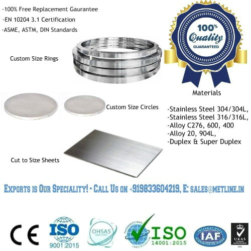 Circles Rings, Forgings, Cut to Size Plates Sheets